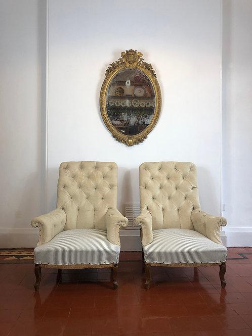 Large pair of 19th century deep buttoned Armchairs