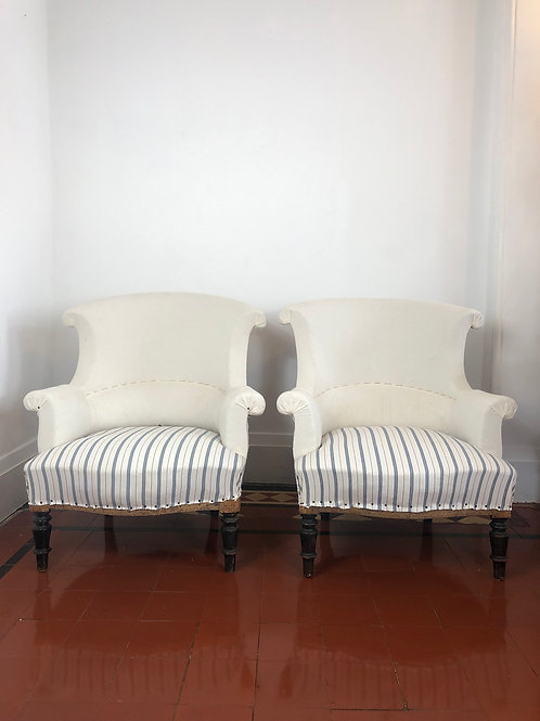 Pair Scroll back armchairs
