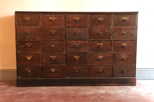 Large bank of English apothecary Drawers
