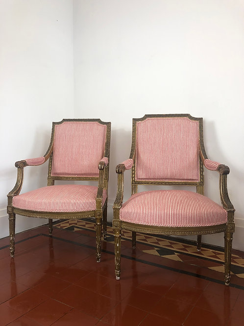 19th Century french open armchairs newly upholstered