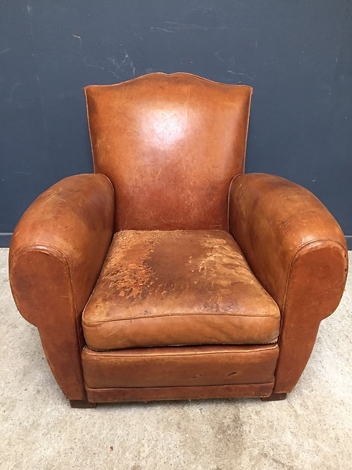 Moustache back leather club chair