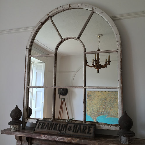 Wooden White Arch Mirror