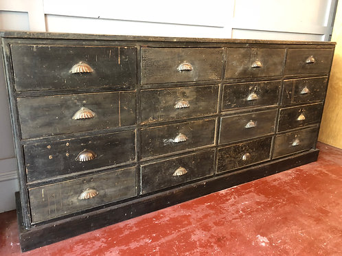 Antique bank of 16 hardware drawers