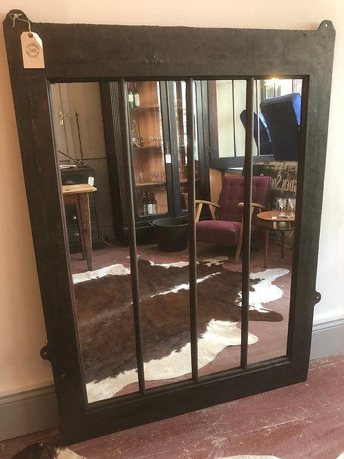 Large industrial window cast iron window mirror