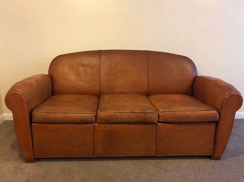 French leather 3 seat sofa bed