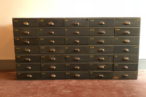 Large bank of factory drawers
