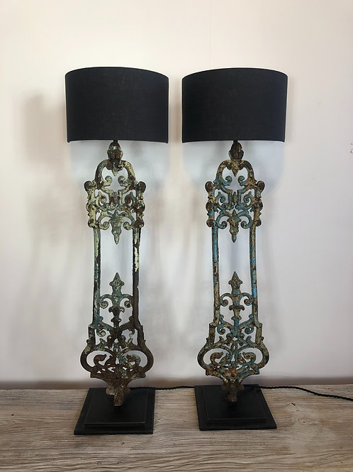 Cast iron balustrade lamps