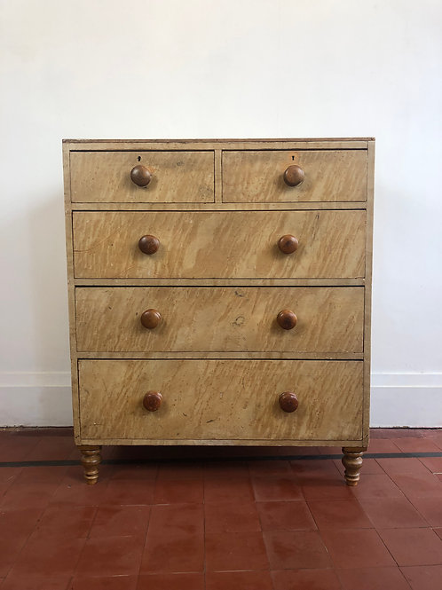 English faux birds eye maple chest of drawers