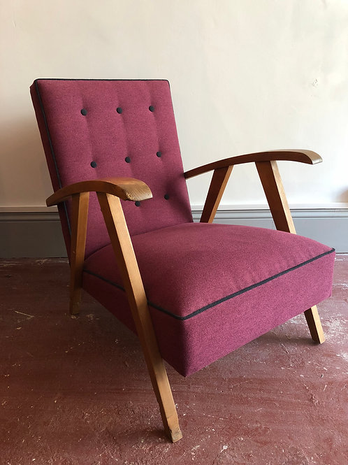 Newly upholstered mid-century armchair