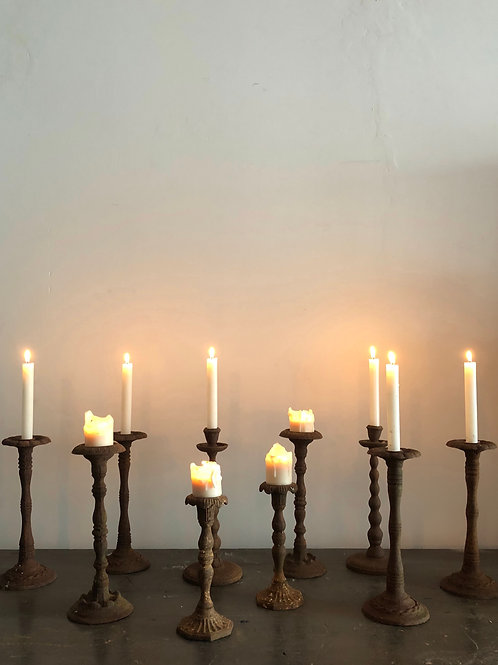 Antique Cast iron candle stick holders