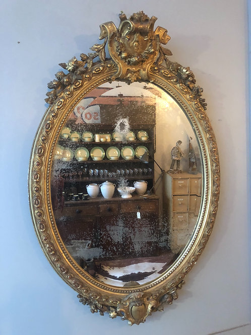 19th century Oval mirror