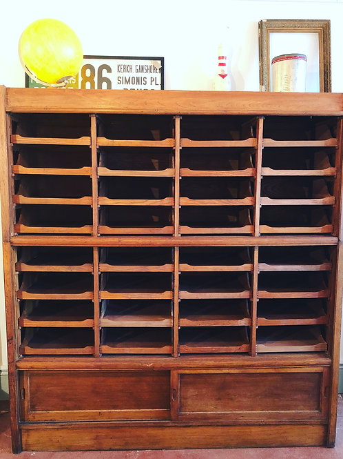 Antique bank of haberdashery drawers