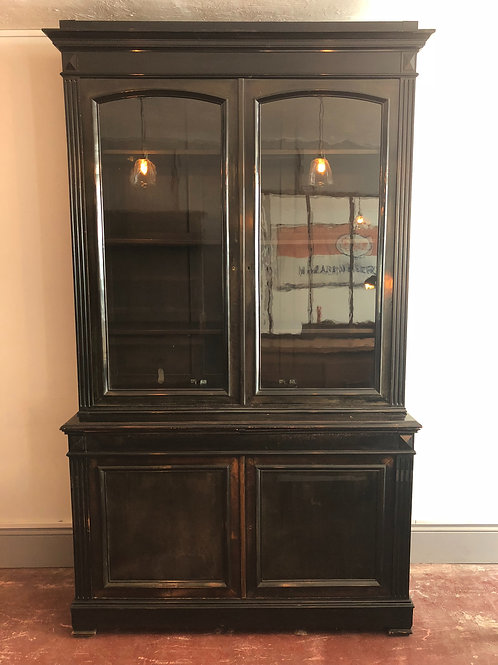 Antique ebonised pharmacy cabinet
