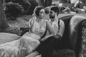 intimate wedding portrait of bride and groom