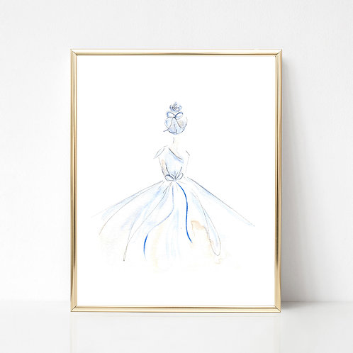 Glam Girl Series Print | Pale Blue/Tan