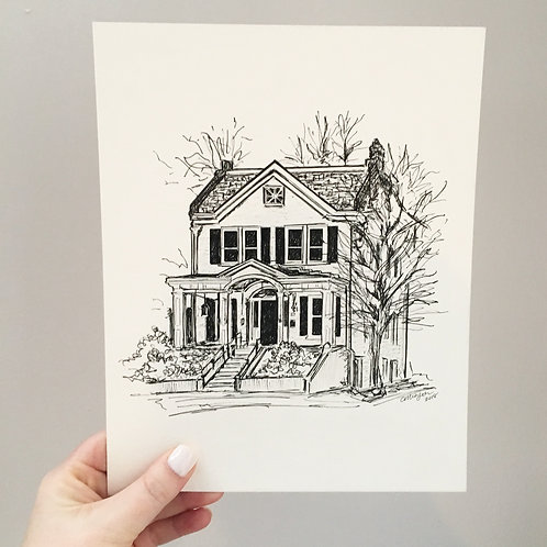 Custom Home Ink Sketch