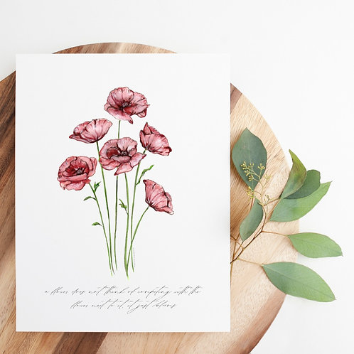 Watercolor Poppies w/Quote Print | 8x10""