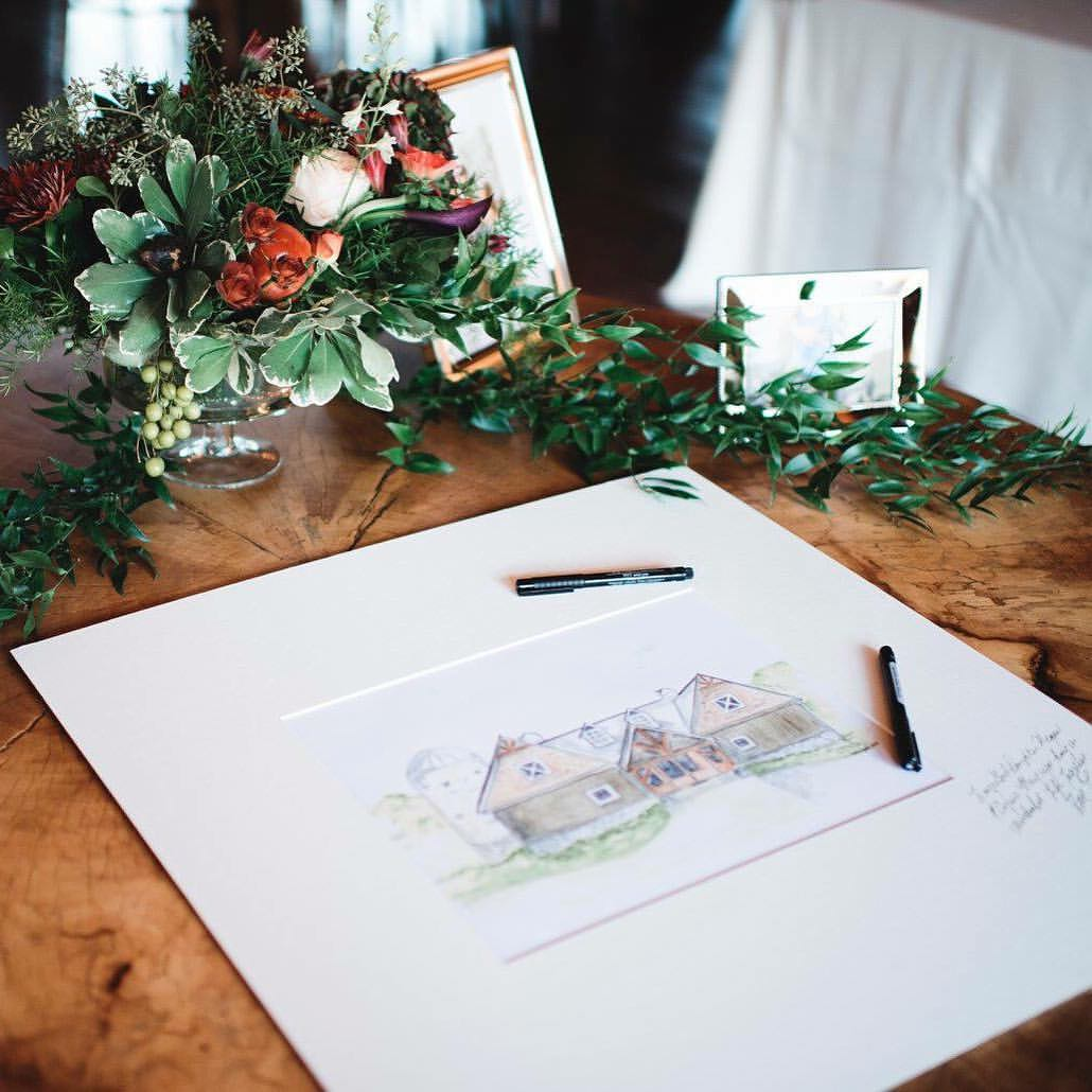 Wedding Venue Watercolor Painting