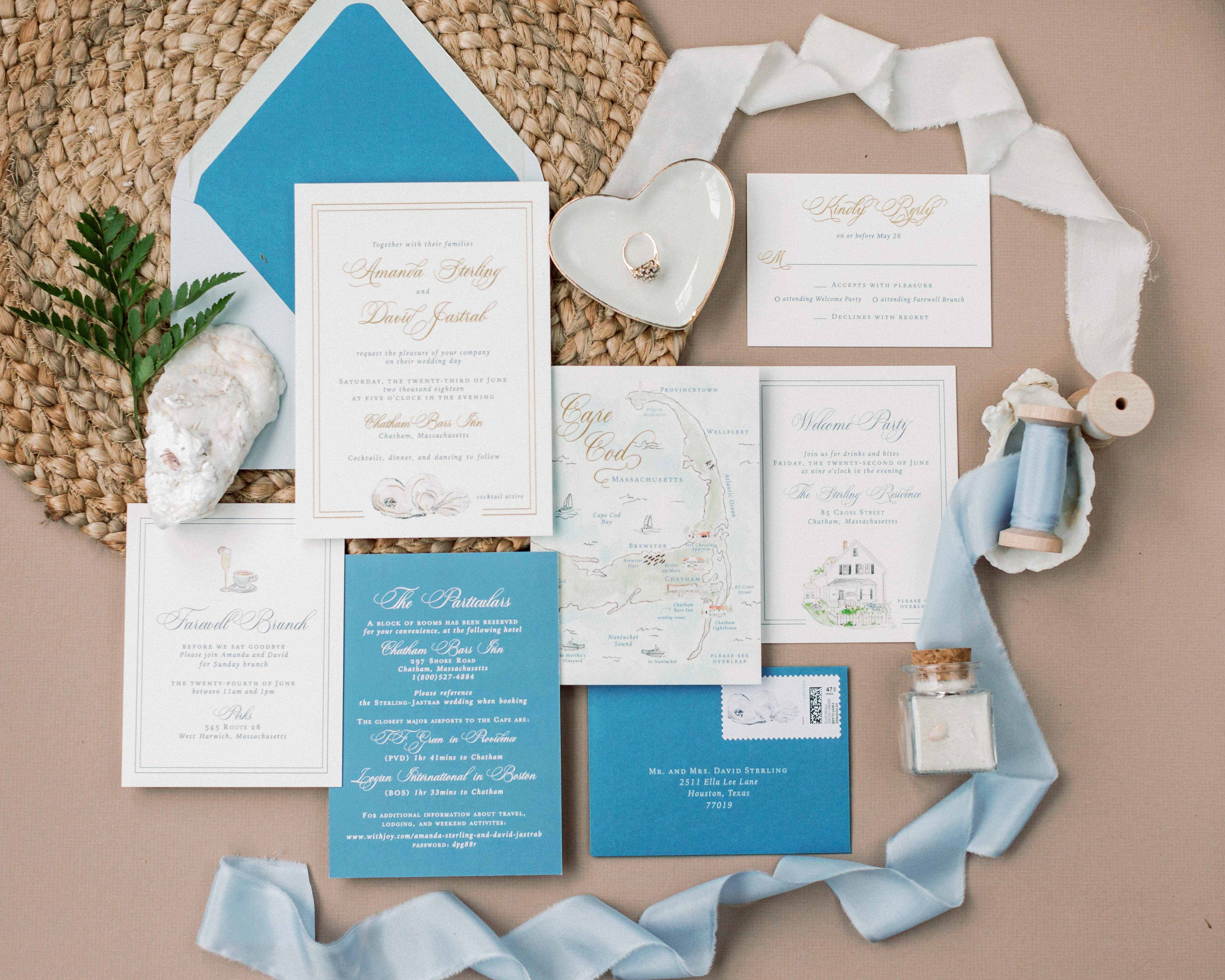 Cape Cod Oyster Blue Invitation