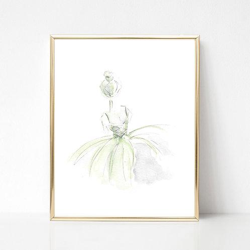 Ballerina Series Print | Green/Grey