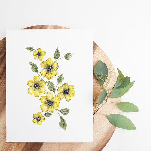 "Watercolor Flax Flower Print | 8x10"""