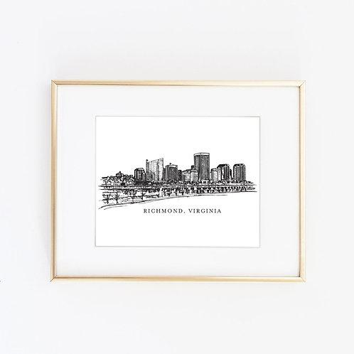 NEW Richmond, VA Skyline | Black Ink