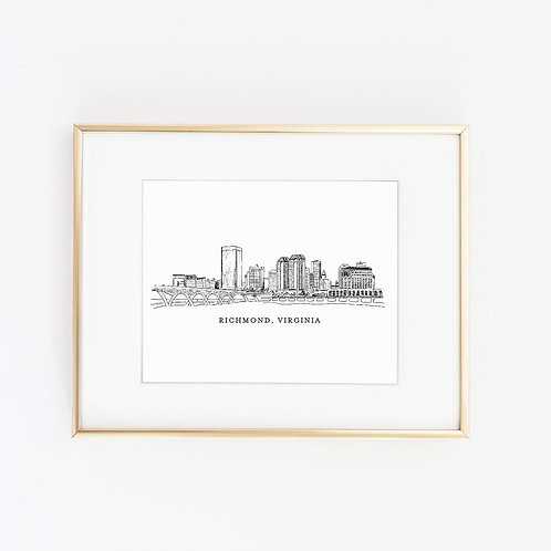 Richmond, VA Skyline | Black Ink