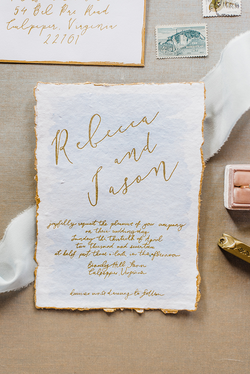 Gold Foil Wedding Announcement