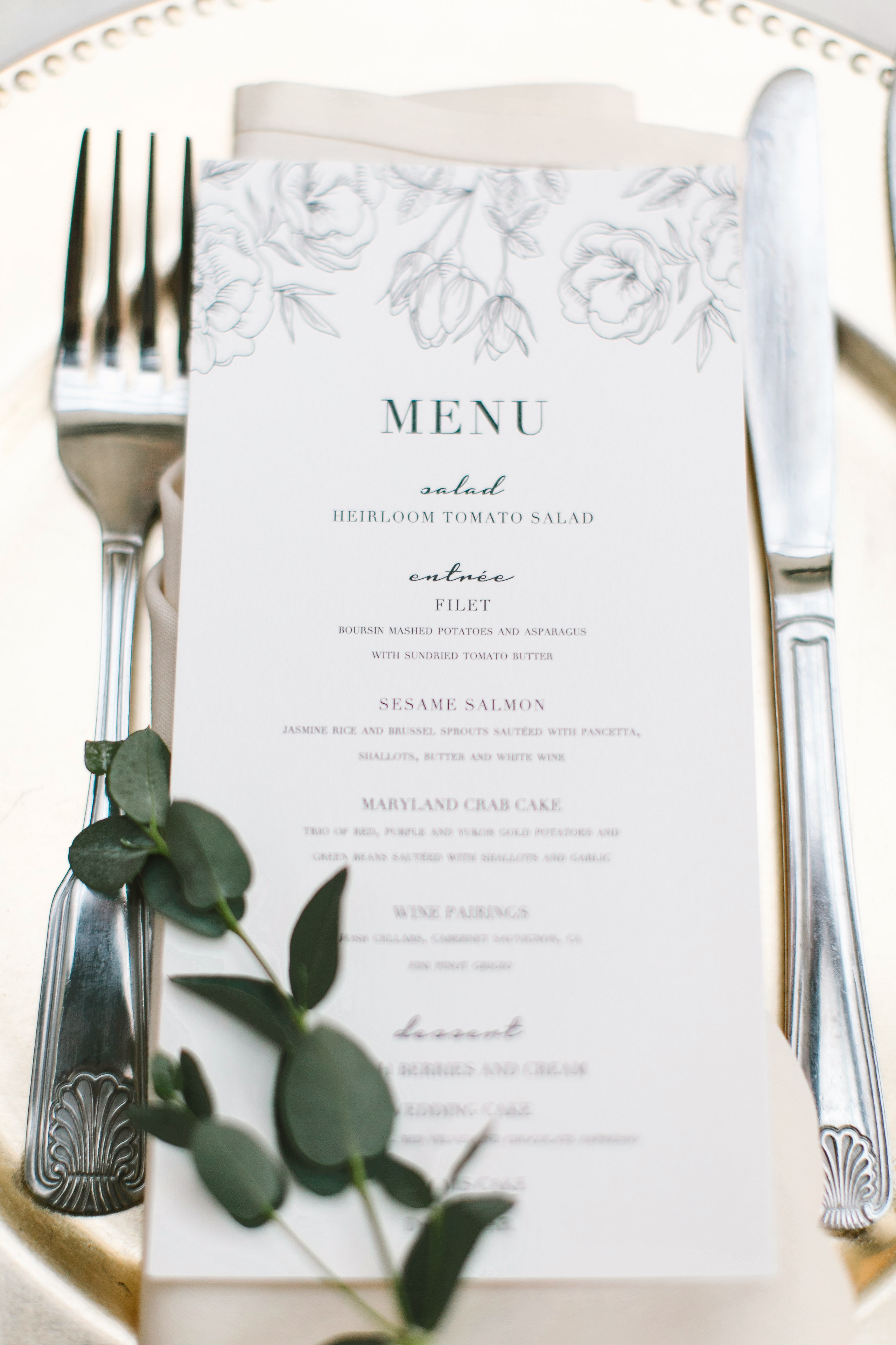 Sophisticated Reception Menu