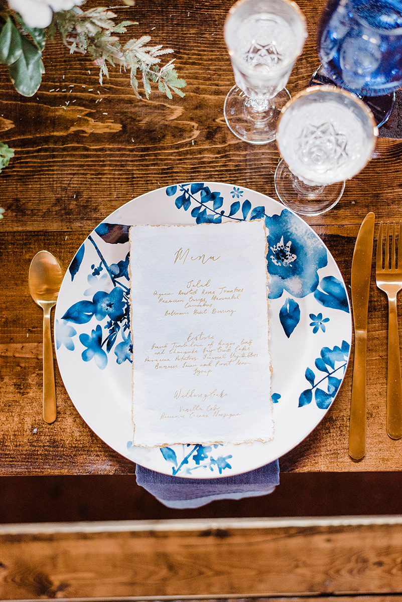 Blue and Gold Menu