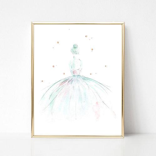 Ballerina Series Print   Green/Pink