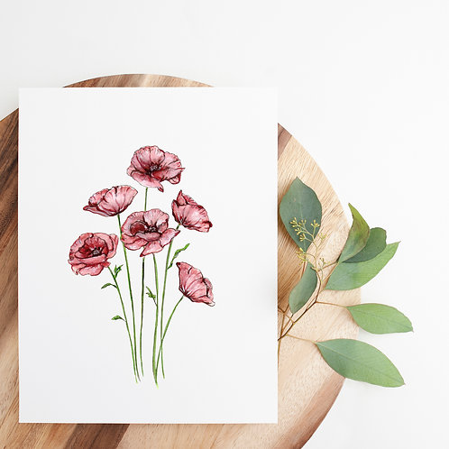 "Watercolor Poppies Print | 8x10"""