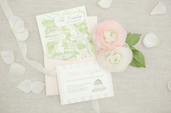 Pink and Green Wedding Map