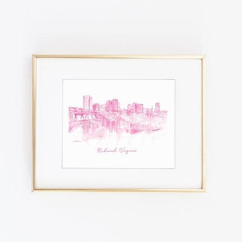 Richmond, VA Skyline | Hot Pink