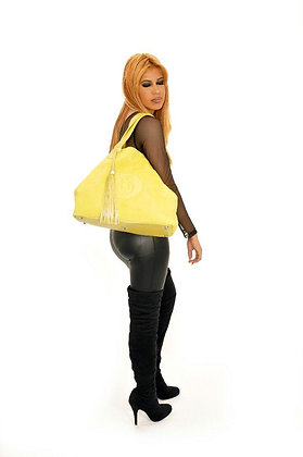Pastel Yellow Leather Shoulder Bag