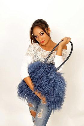 Misty Blue Lamb Hair Leather Shoulder Bag