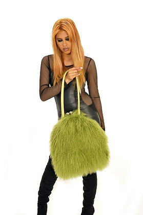 Olive Lamb Hair Leather Shoulder Bag