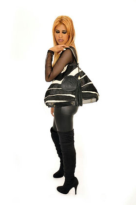 Zebra Print Hair Collapsible Shoulder Bag