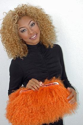 Orange Lamb Hair Clutch