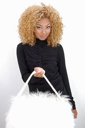 White Lamb Hair Leather Shoulder Bag