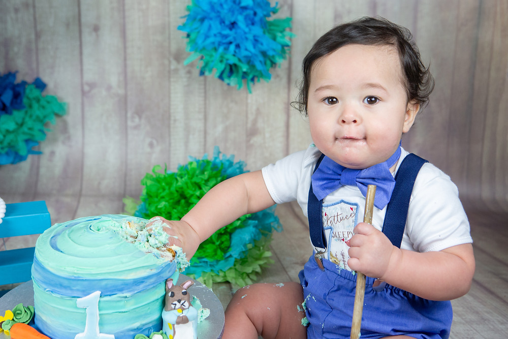 BLue and green themed cake smash session