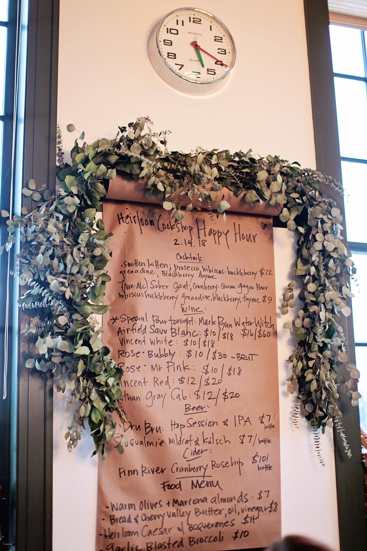 happy hour menu at heirloom cookshop