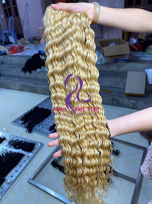 Curly #613 blonde hair with 100% human hair