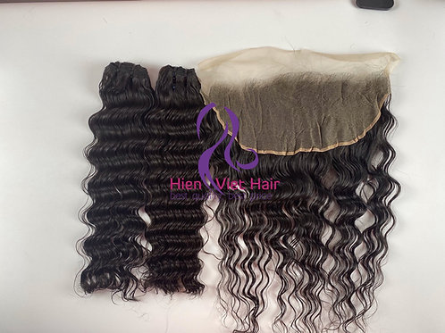 Deep wave hair with matching frontal - 100% human hair