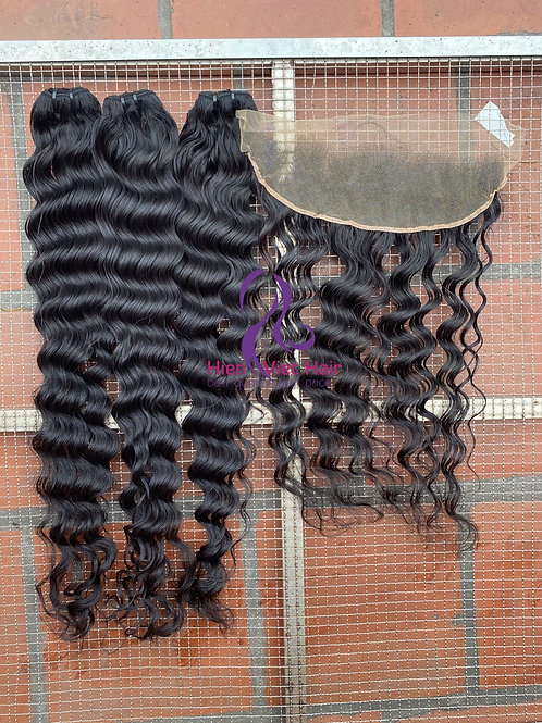 Deep wave hair bundles with matching 13x4 frontal - hdlace