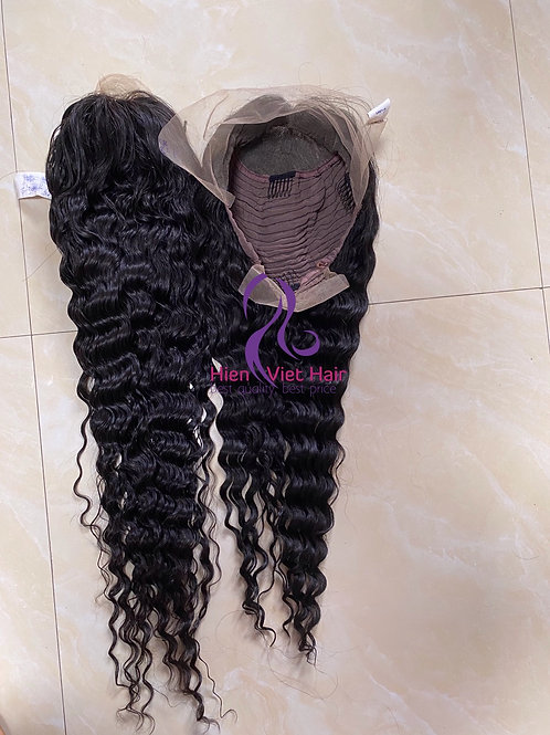 Deep wave 13x6 front lace wig with hdlace and 100% virgin hair- wig wholesale