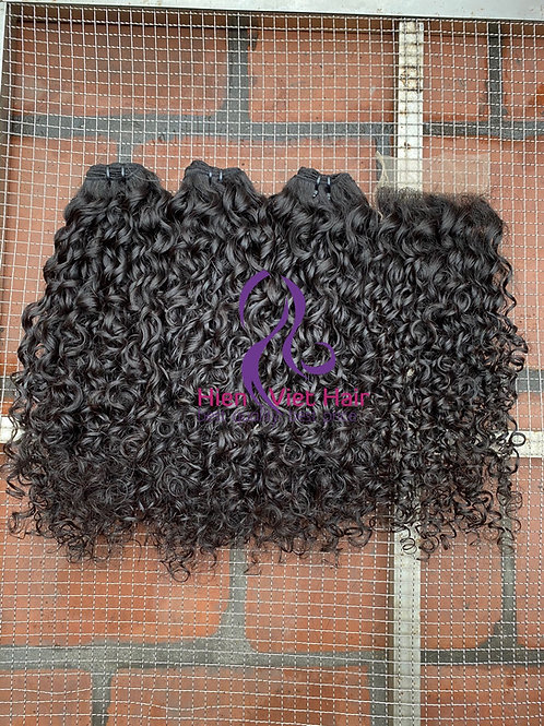 Pixie curly hair weave with matching closure - best price human hair for wholesa