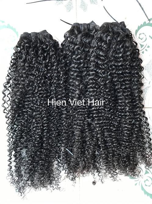 Deep curly hair weft - 100% human virgin hair