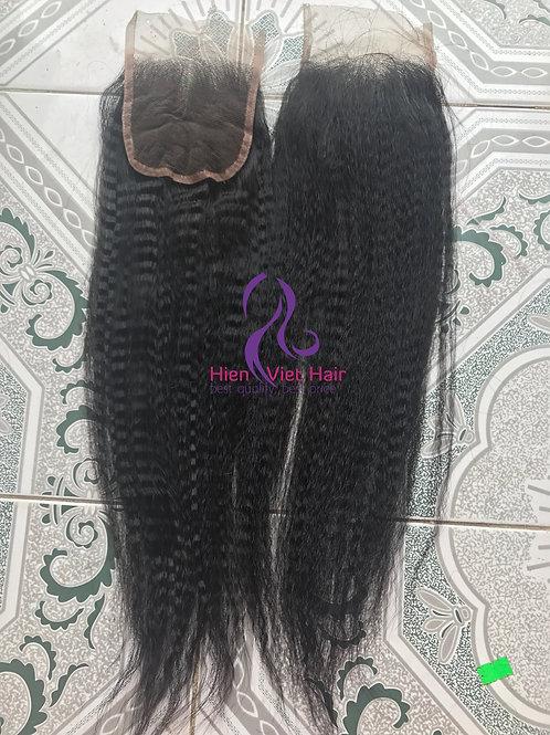 Kinky straight/yaki top lace closure 4x4, 5x5... best wholesale price