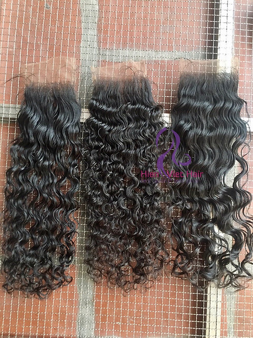 Different types of curly lace closure 4x4, 5x5 with swiss lace and virgin hair